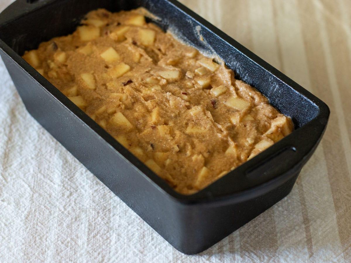 apple bread batter in pan