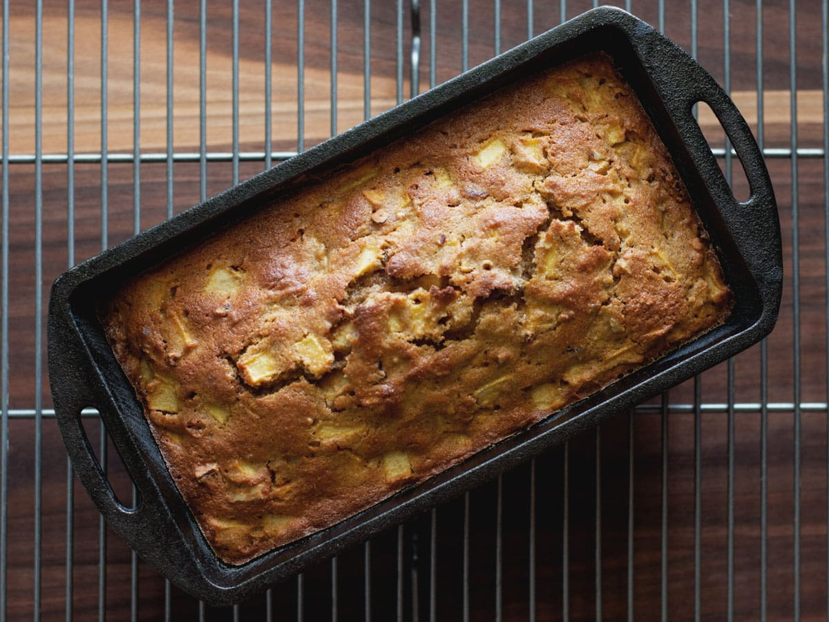 Apple Pecan Bread in cast iron loaf pan