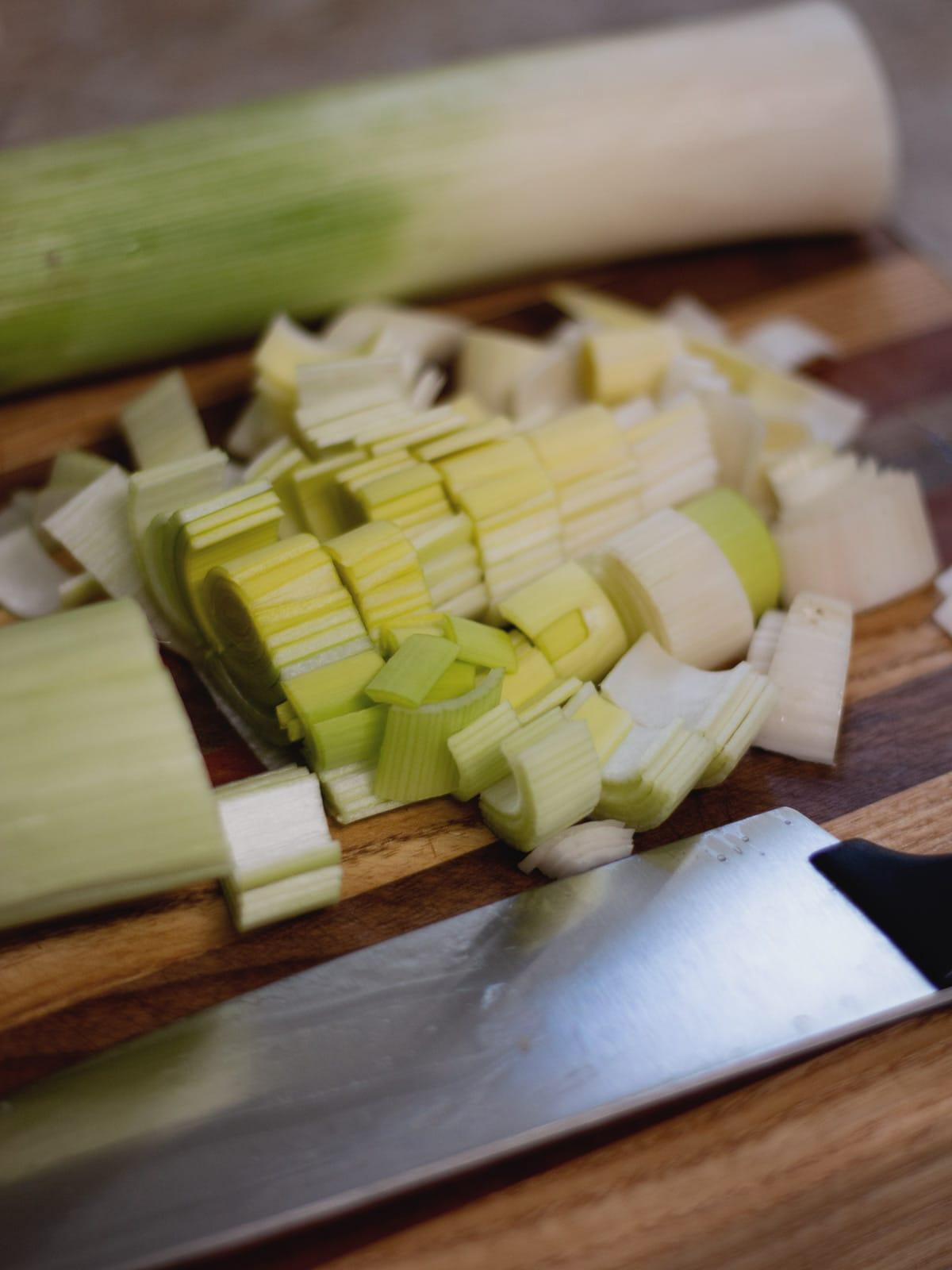 Cut leeks on a cutting board