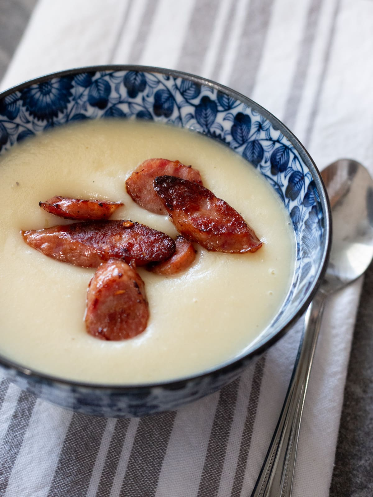 Creamy Potato and Leek Soup with Smoked Sausage | Cosmopolitan Cornbread