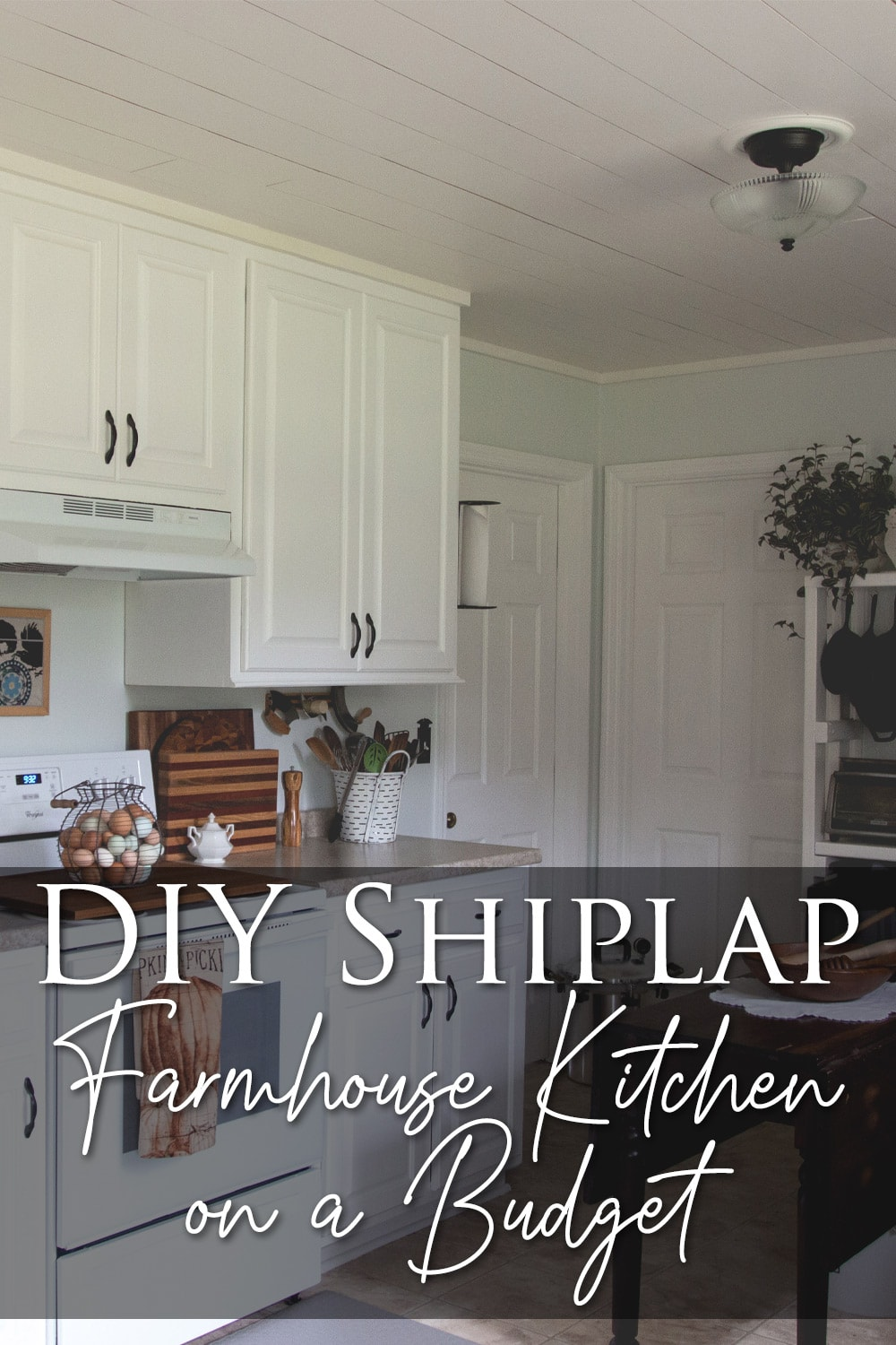 How to Create a Shiplap Ceiling - Farmhouse Kitchen on a Budget