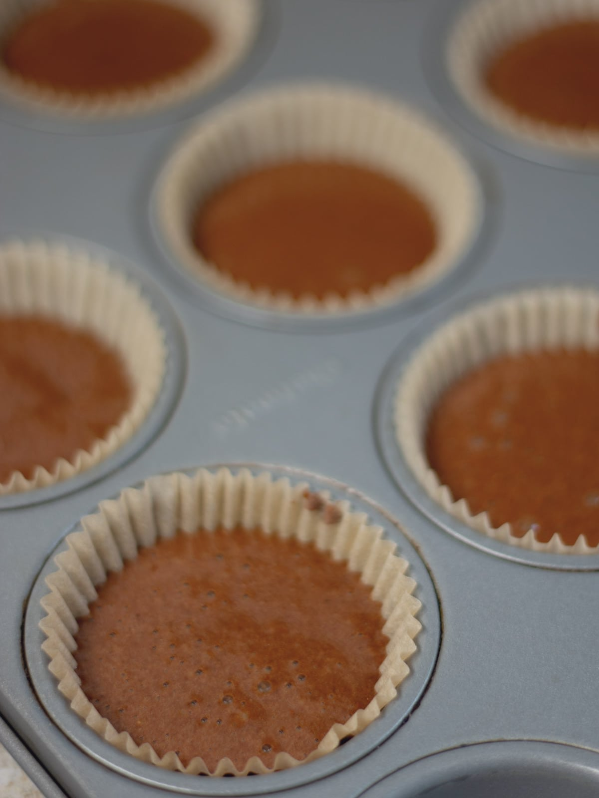 muffin batter in a muffin pan