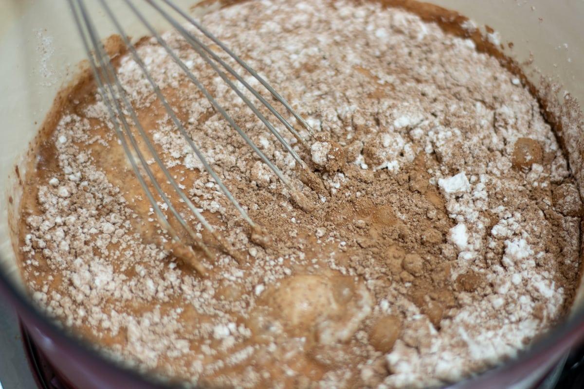 whisking pudding ingredients