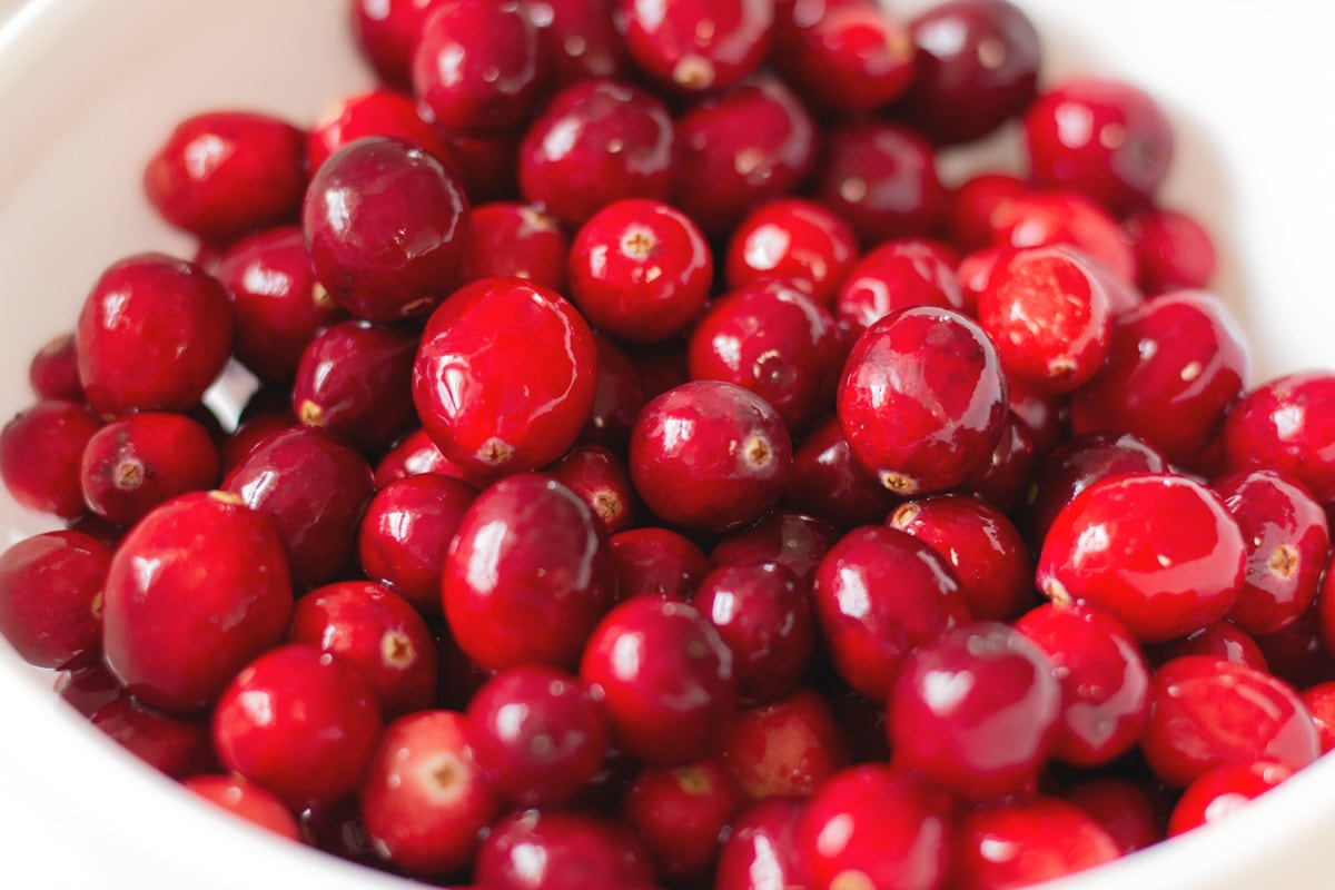 cranberries in a dish