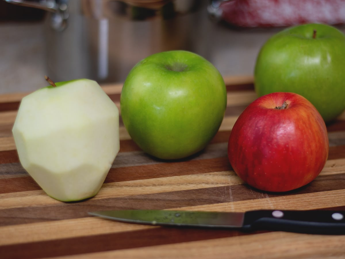 apples on cutting board