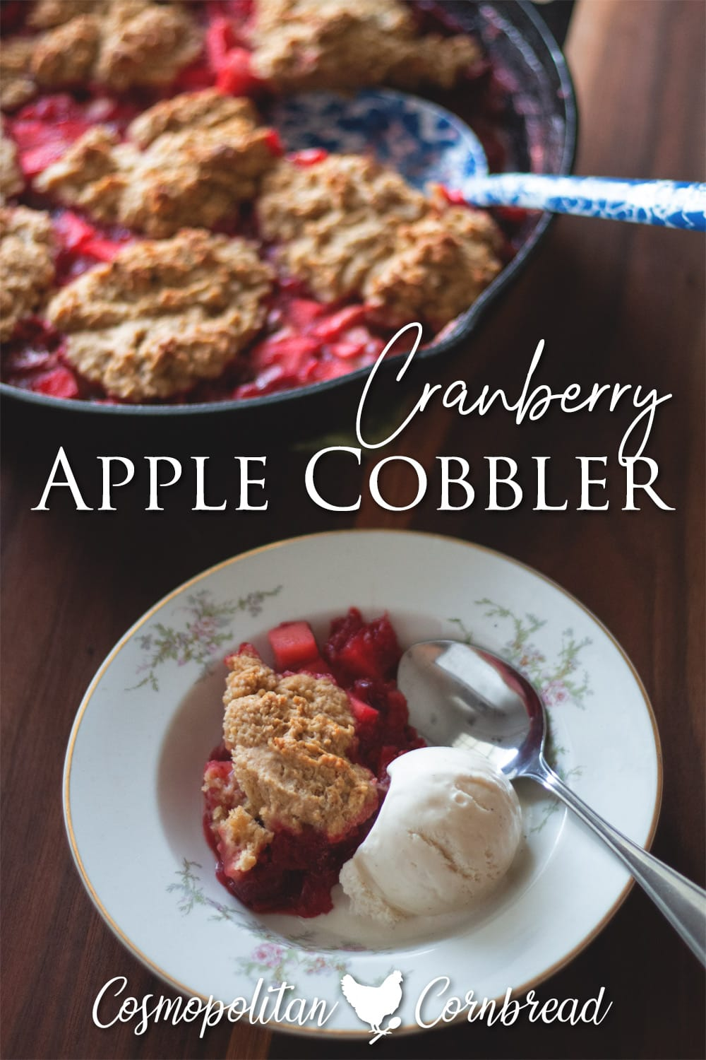 Cranberries, apples and a delicately sweet cake topping will make this old-fashioned cobbler one of your new favorites!