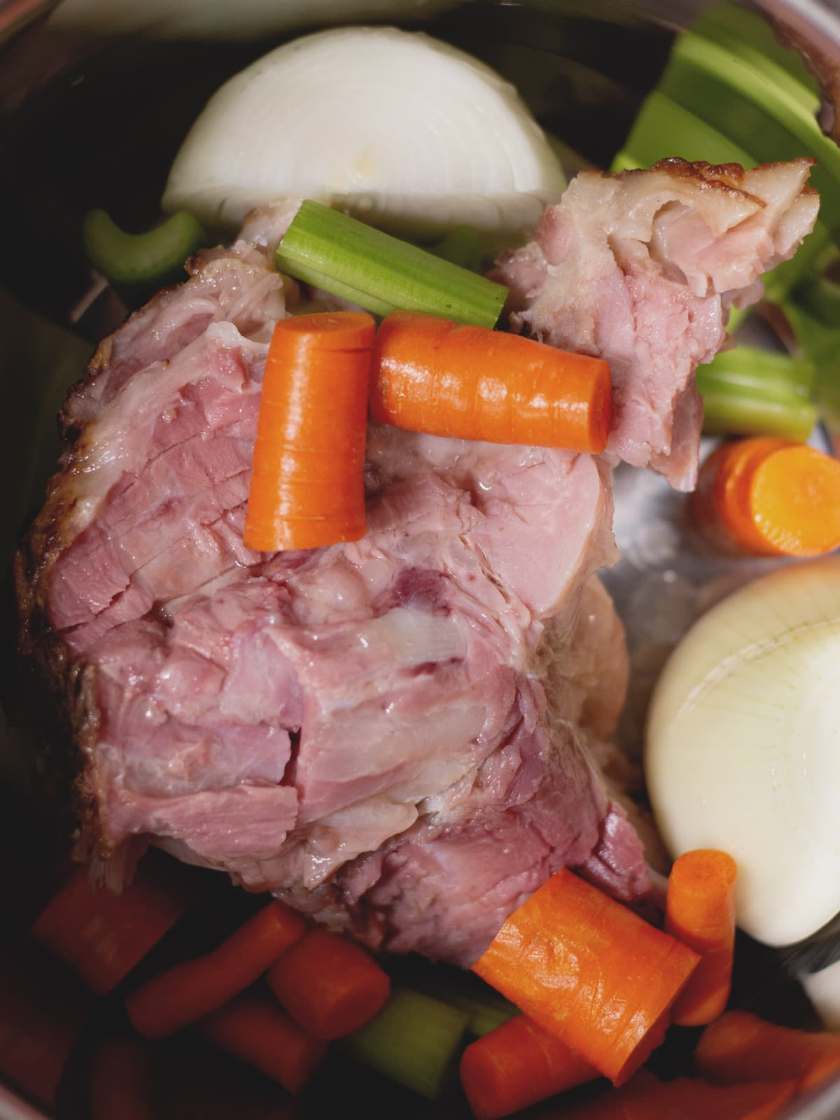 ham bone and ingredients in an instant pot