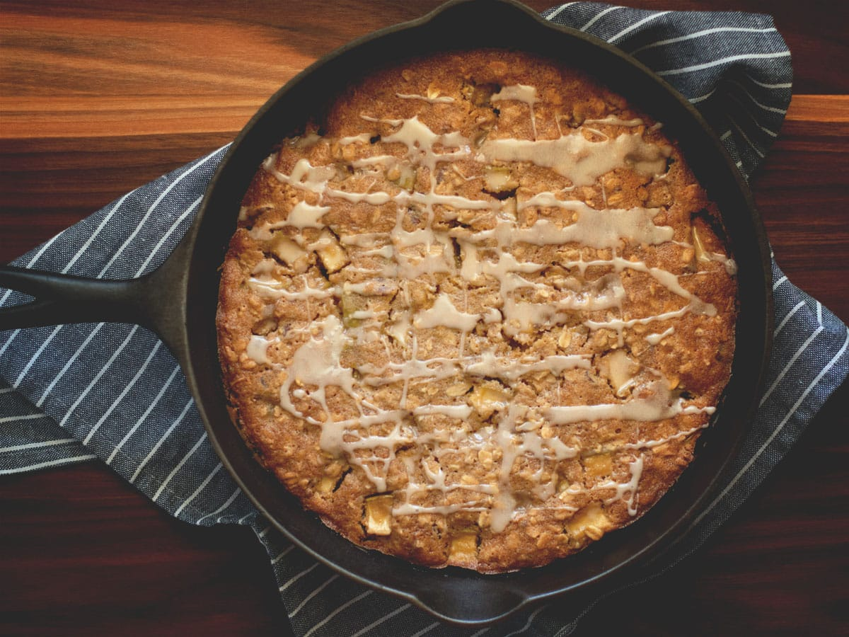 This delicious Maple Apple Oat Cake is a rustic recipe with tons of fall flavor and has a simple maple cinnamon glaze on top.