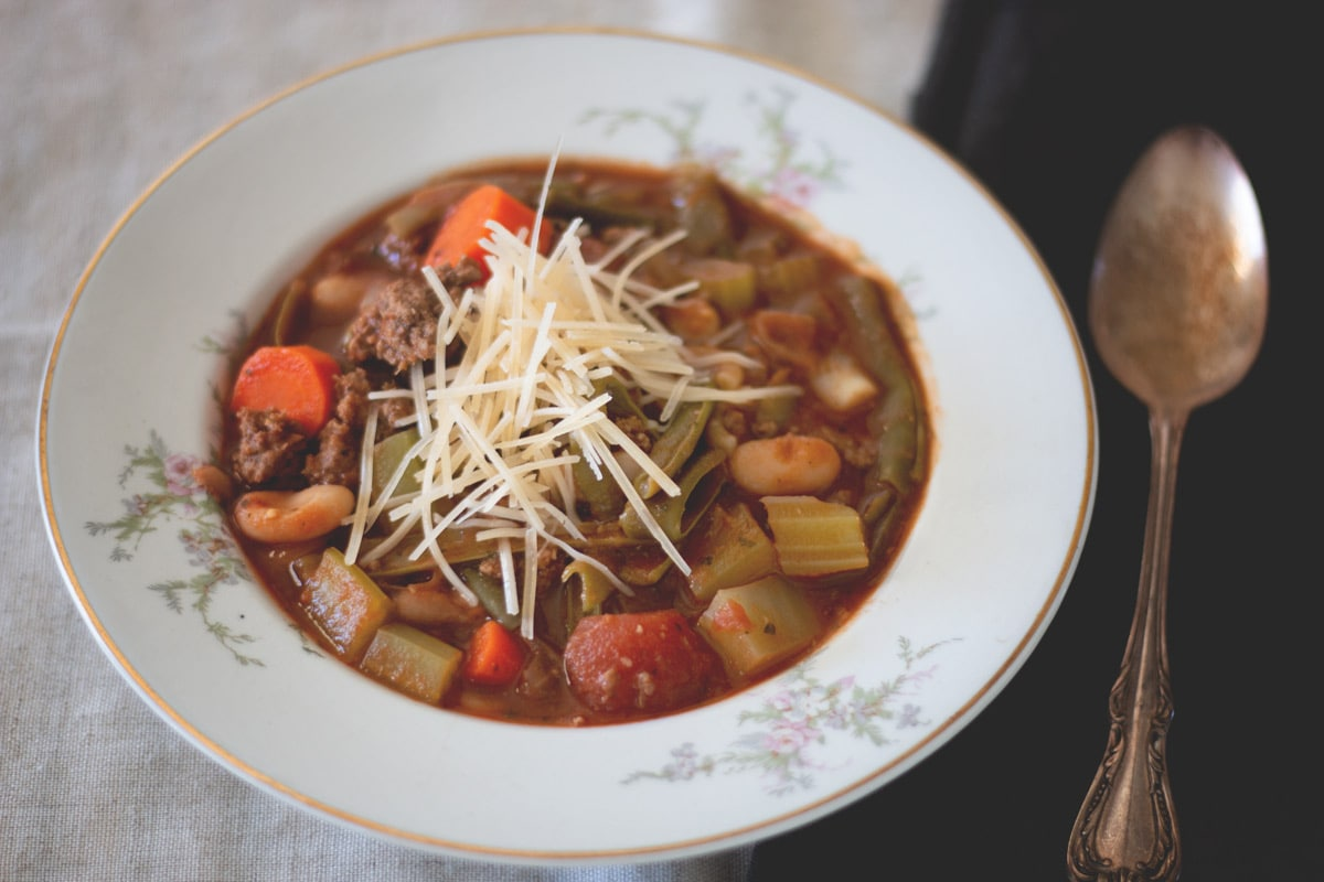 This Italian Vegetable Soup is slam packed with goodness and flavor. Get the recipe from Cosmopolitan Cornbread.