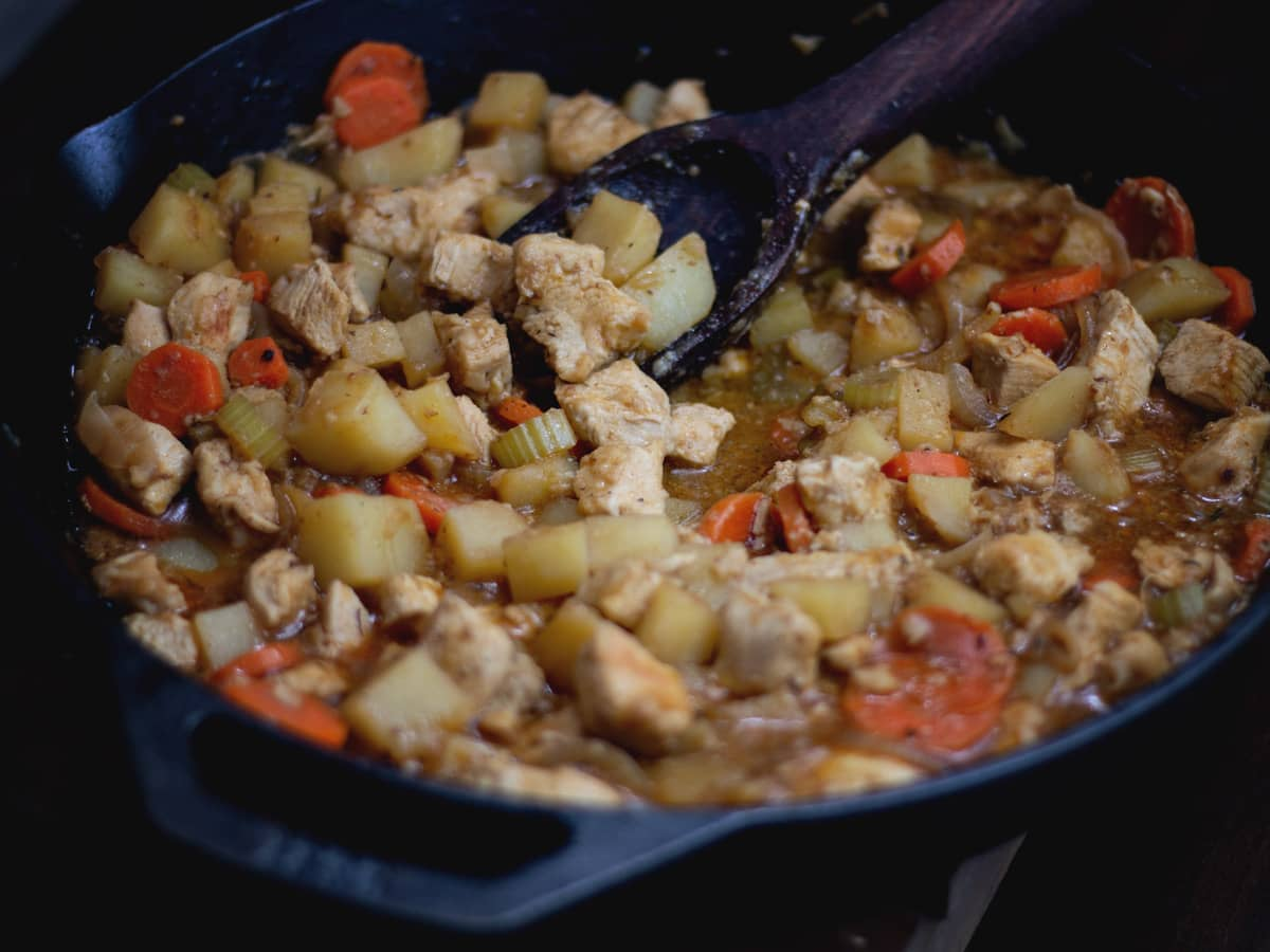 With tender potatoes and a thick gravy, Skillet Chicken Stew is such a comforting dish. But seeing as it only takes about half an hour to make, you can enjoy this any night of the week.