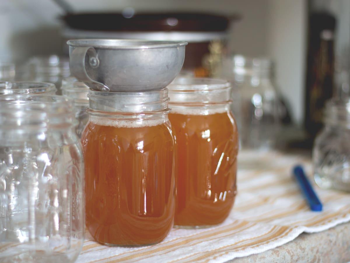 beef bone broth in canning jars