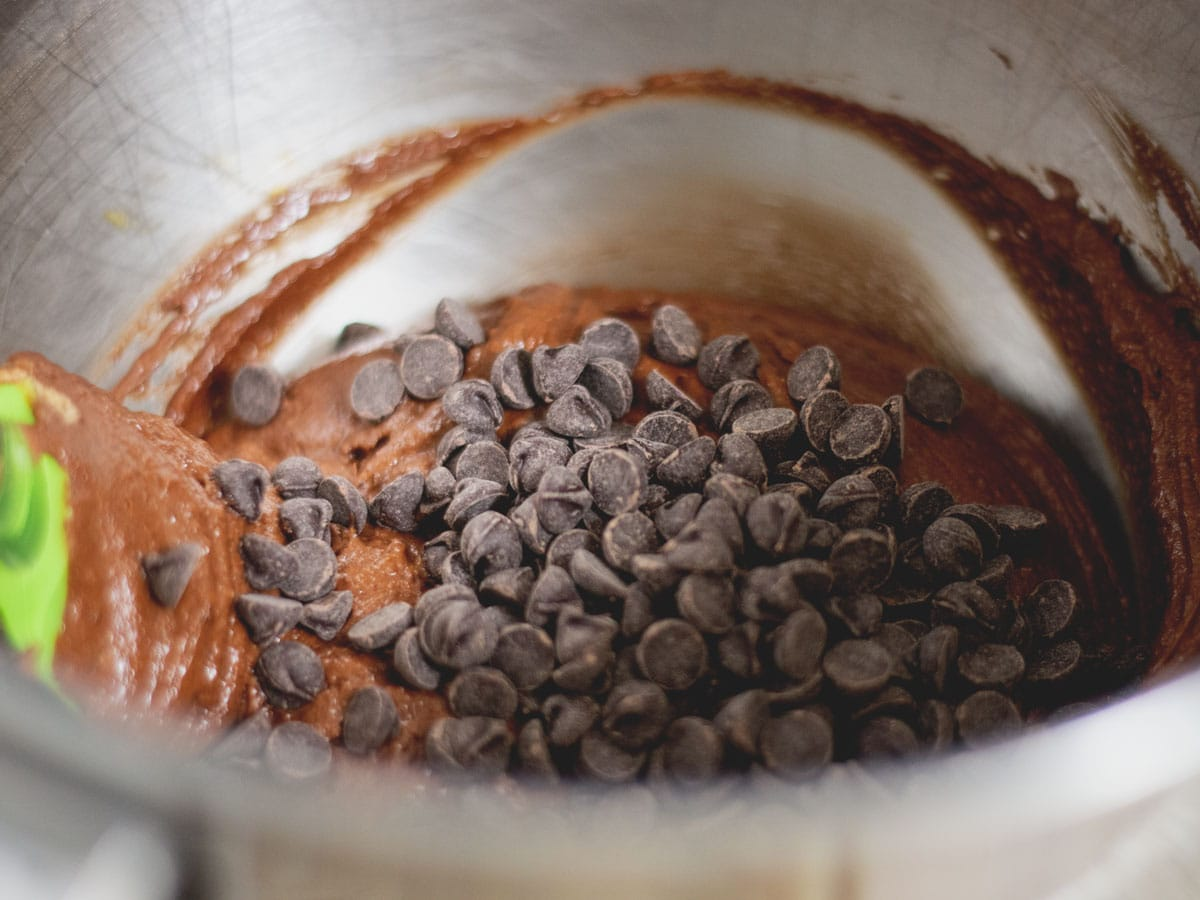 chocolate chips in the mixing bowl