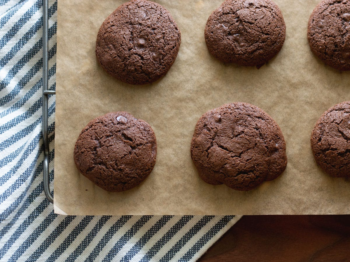 Chocolate Chip Espresso Cookies cooling on a rack