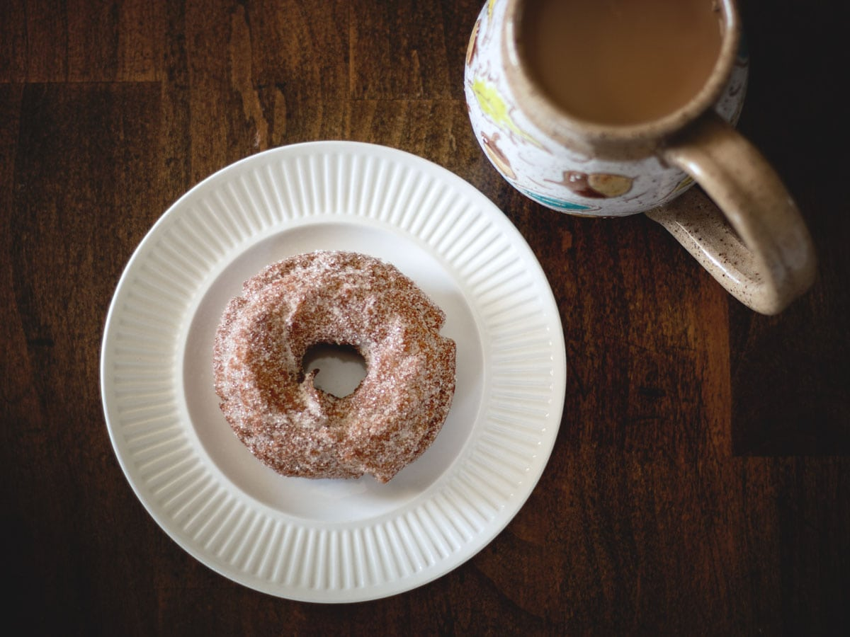 Homemade doughnut with a cup of coffee