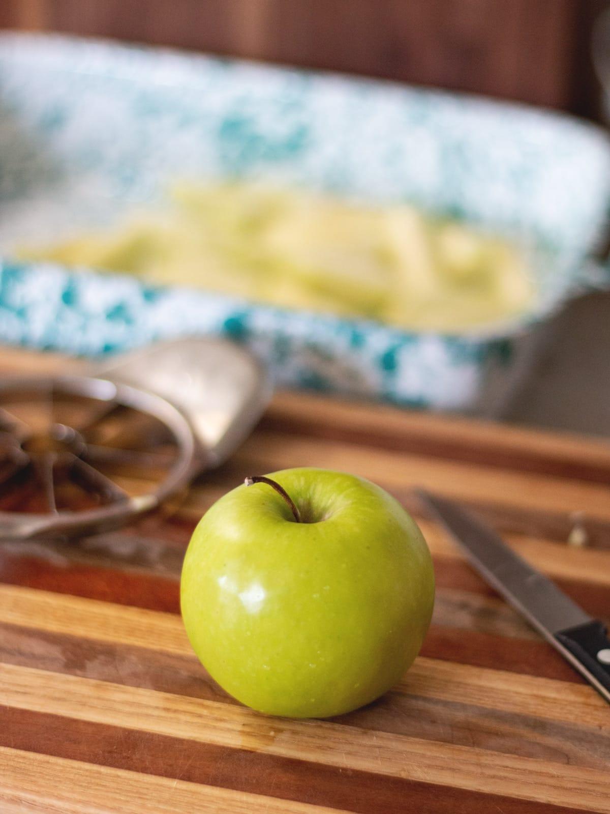 apple on cutting board