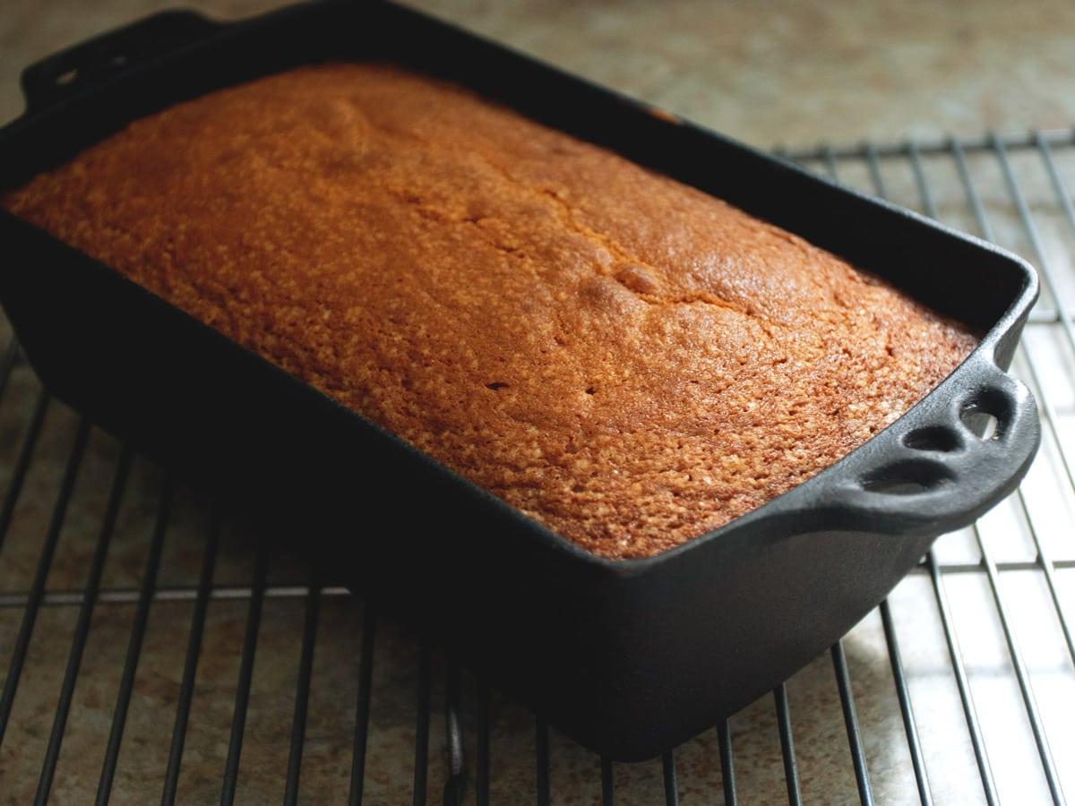 orange pound cake in pan