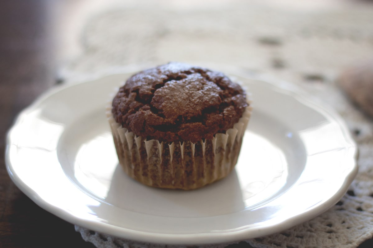 Paleo chocolate muffin on a plate
