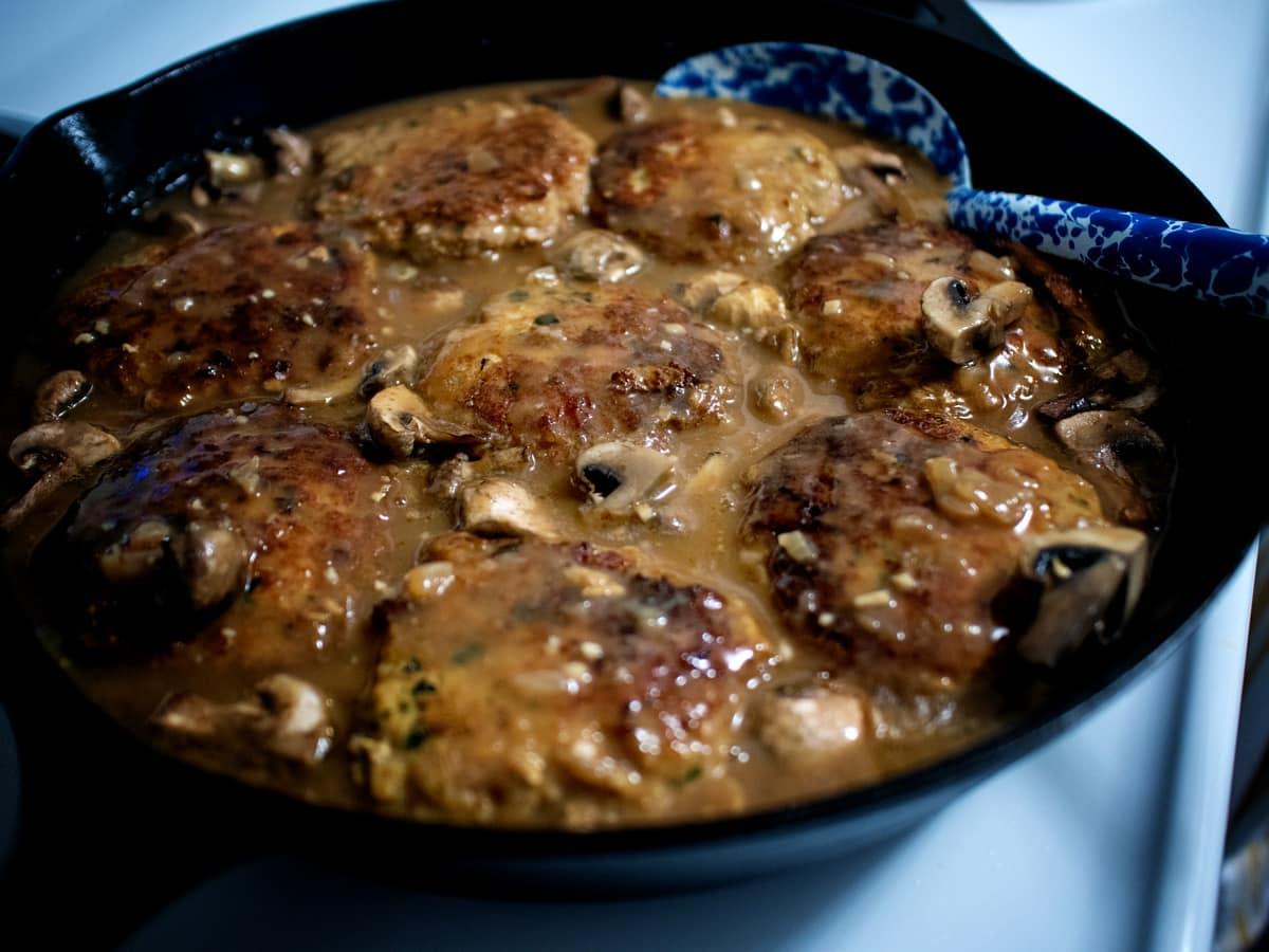 "Juicy turkey steaks in a delicious, mushroom gravy. You'll love this ""Turkeys-bury"" Steak recipe!"