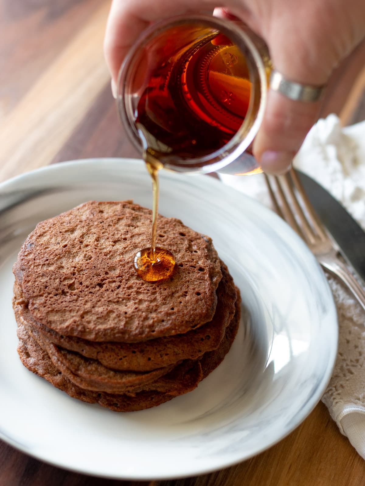 These delicious Mocha Pancakes are perfect for the coffee lovers who like a little mocha in the morning.