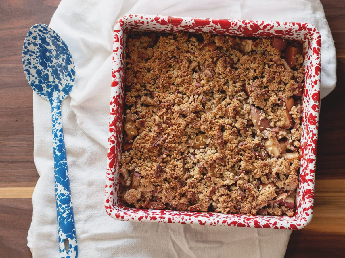 Baked, spiced apples with a scrumptious crumb topping.