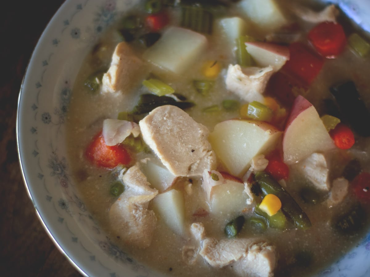 This hearty chicken vegetable soup has all the great flavor of your favorite chicken pot pie. It includes a pie crust cracker recipe that you can make to go with it.