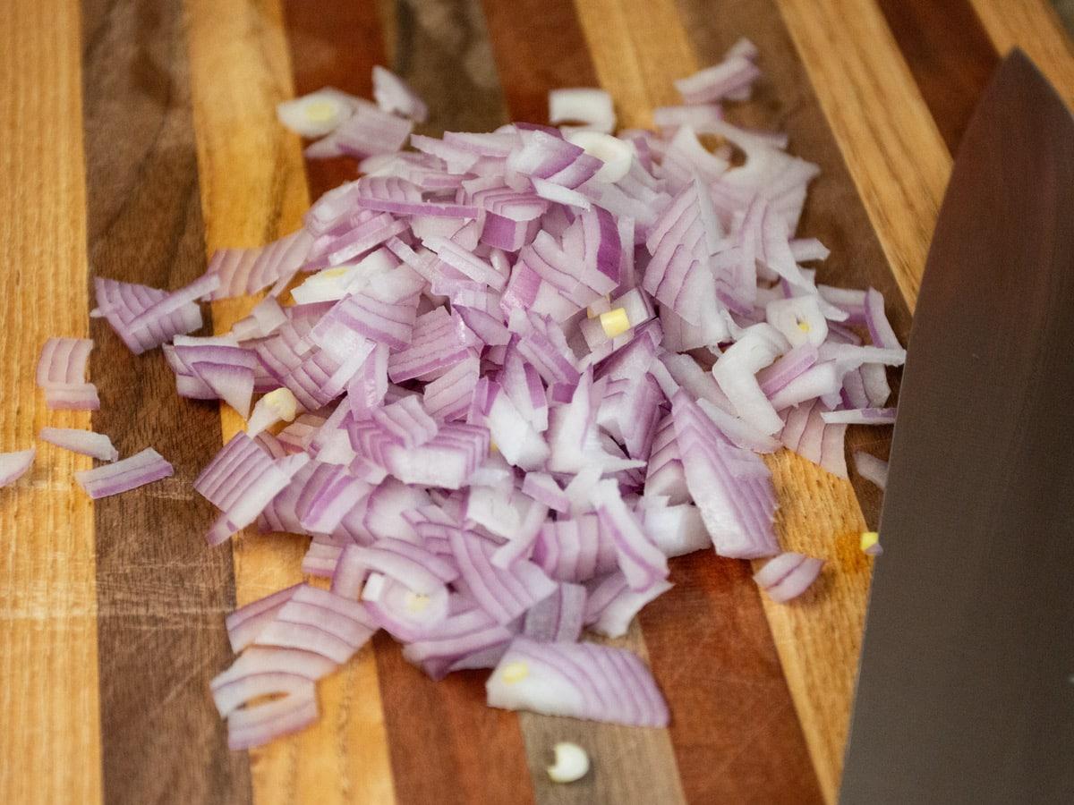 diced onion on cutting board