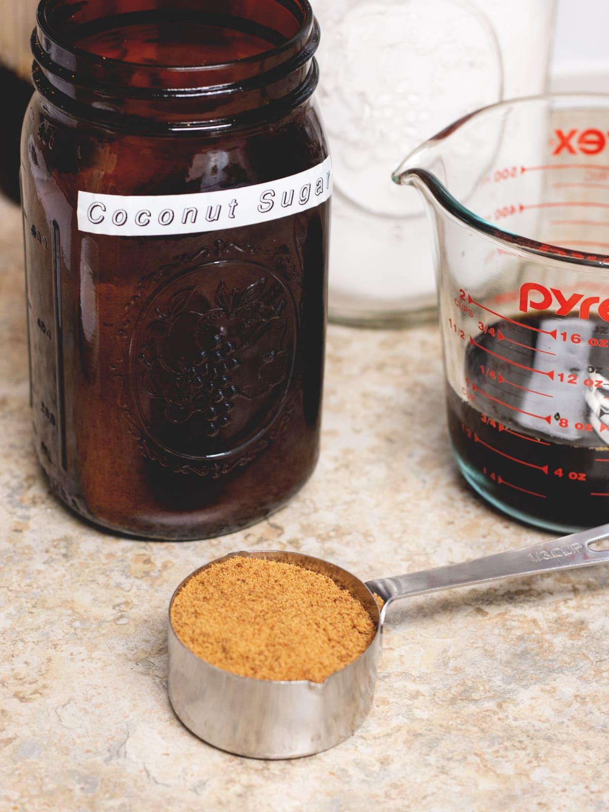 coconut sugar and measuring cup