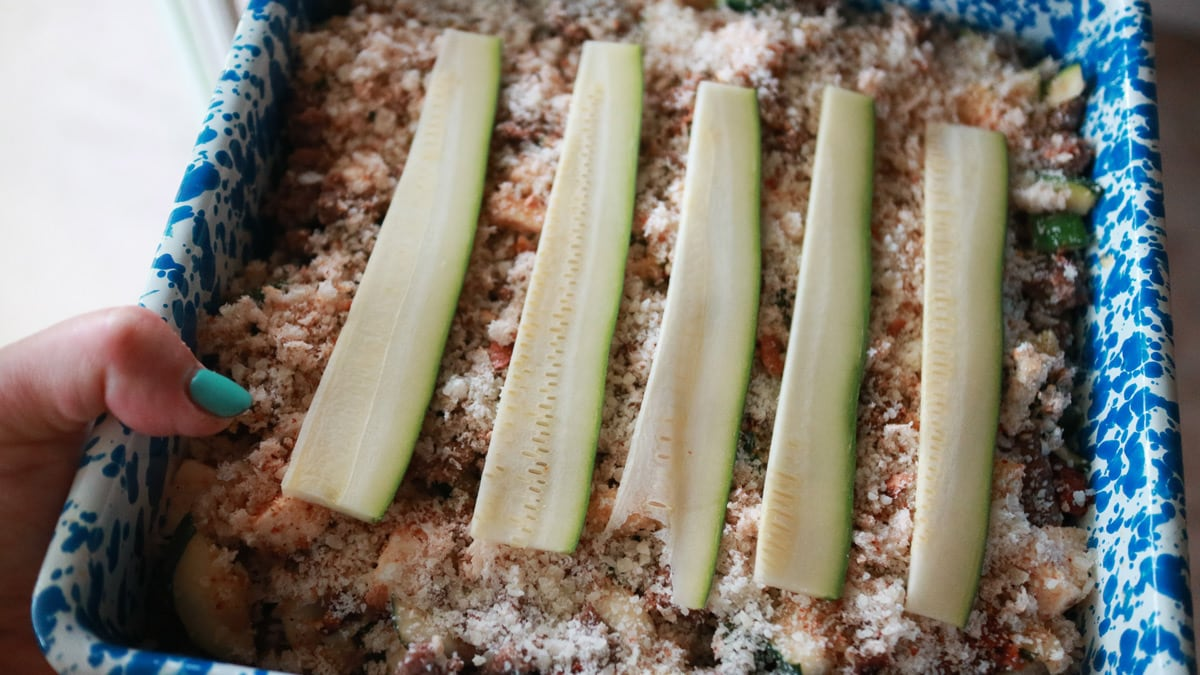 Italian Zucchini Casserole that's ready to go in the oven.