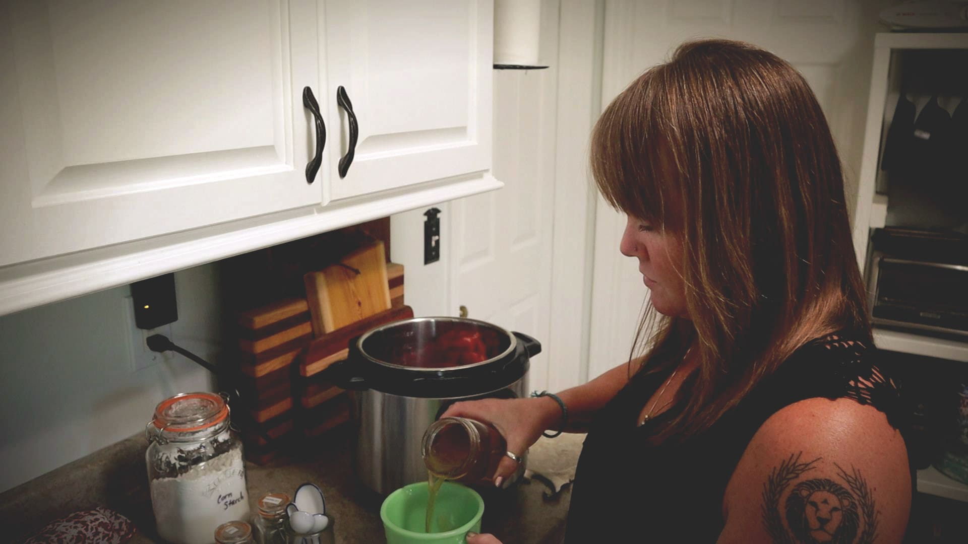pouring beef broth