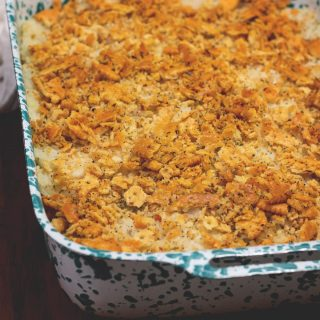 Crunchy chicken casserole with creamy filling, crunchy bits and a buttery cracker topping. Your family will love this!