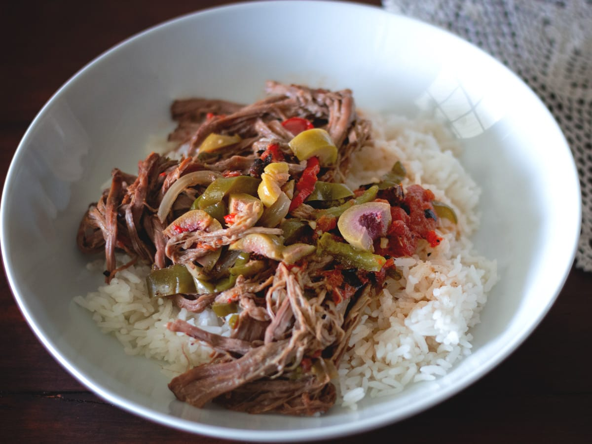 Ropa Vieja is a classic Cuban dish, with slow cooked beef, peppers and tons of flavor.